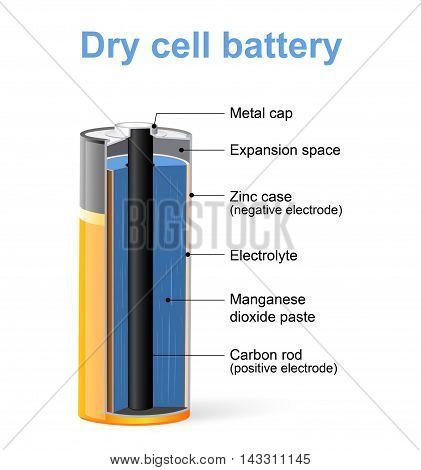 Parts of a Dry cell battery. Vector Diagram