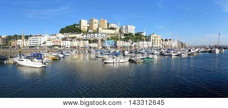 Panorama of Torquay, a holiday destination at the English Riviera in Devon, UK.