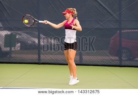 Mason Ohio - August 16 2016: Simona Halep at practice for the Western and Southern Open in Mason Ohio on August 16 2016.