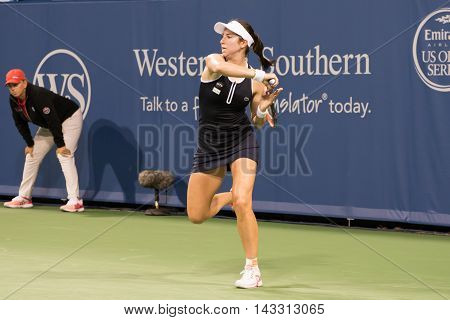 Mason Ohio - August 15 2016: Christina McHale in match at the Western and Southern Open in Mason Ohio on August 15 2016.
