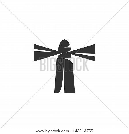 Lighthouse logo silhouette design template isolated on a white background. Simple concept icon for web, mobile and infographics. Abstract symbol, sign, pictogram, illustration - stock vector