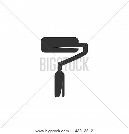 Paint roller logo silhouette design template isolated on a white background. Simple concept icon for web, mobile and infographics. Abstract symbol, sign, pictogram, illustration - stock vector