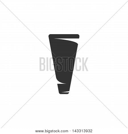 Tube of cream logo silhouette design template isolated on a white background. Simple concept icon for web, mobile and infographics. Abstract symbol, sign, pictogram, illustration - stock vector