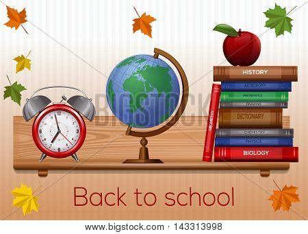 Greeting card for Knowledge Day. Back to school background. Vector illustration