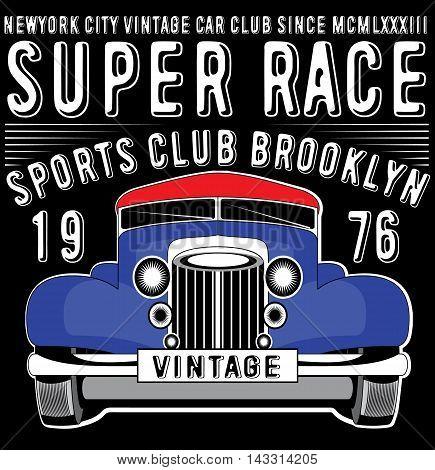 Retro car. Vintage car. Sport car fashion style