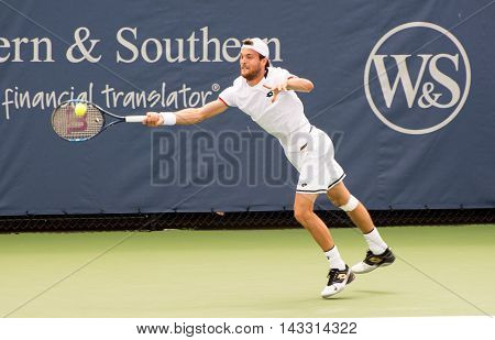 Mason Ohio - August 16 2016: Joao Sousa in a match at the Western and Southern Open in Mason Ohio on August 16 2016.