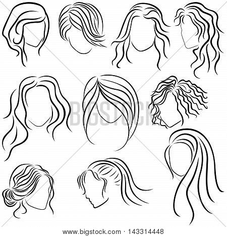 Hairstyles for women set of ten hand drawing vector outlines