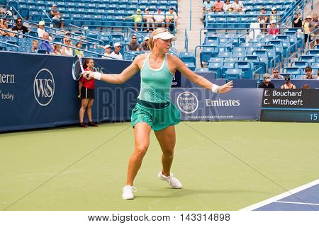 Mason Ohio - August 13 2016: Carina Witthoeft in a qualifying match versus Eugenie Bouchard at the Western and Southern Open in Mason Ohio on August 13 2016.