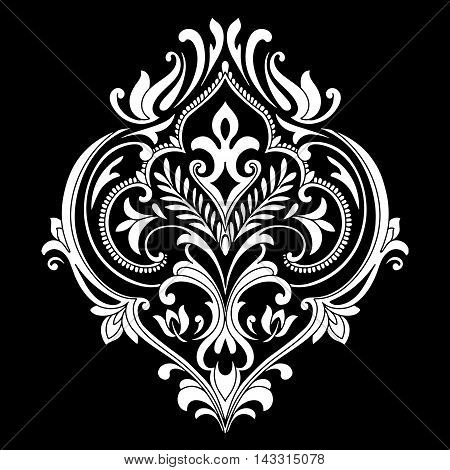 Damask white and black ornament.Traditional vector pattern.Decorative element eastern tracery.Floral ,victorian,baroque,Indian design. Texture for arabic wallpapers.