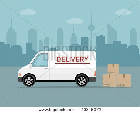 White delivery van with shadow and cardboard boxes on city background. Product goods shipping transport. Fast service truck