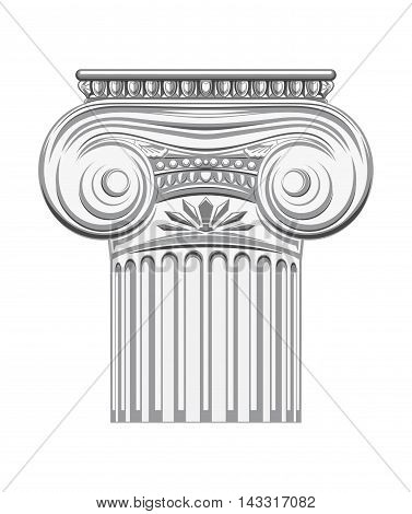 Antique column. Ionic Pillar. History ancient. Historical building. Monochrome icon. Vector illustration isolated on white background