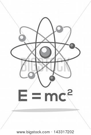 Atom. Molecule. Physics. Symbol. Formula. E = mc2. Monochrome icon. Vector illustration isolated on white background