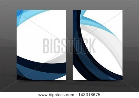 Blue wave annual report cover template. Brochure, flyer template layout, leaflet abstract background, A4 size page