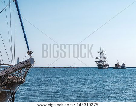 Odessa, Ukraine August 15, 2016: Training Barquentine Italian Navy