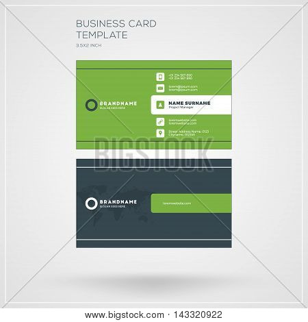 Business Card Print Template. Personal Visiting Card With Company Logo. Clean Flat Design. Vector Il