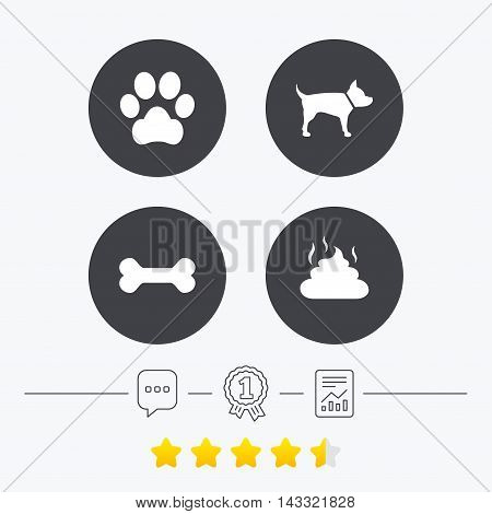 Pets icons. Dog paw and feces signs. Clean up after pets. Pets food. Chat, award medal and report linear icons. Star vote ranking. Vector