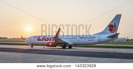 BANGKOK THAILAND - AUGUST 30: Thai Lion Air in Bangkok Thailand on August 30 2015. Thai low-cost airline operating with Thai partners as an associate company of Lion Air based in Indonesia