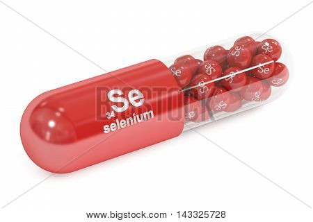 Capsule with Se selenium element Dietary supplement 3D rendering isolated on white background