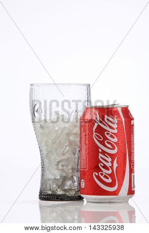 Kuala Lumpur,Malaysia,8th Aug 2016,Coca-Cola Classic in a glass on white Background. Coca Cola, Coke is the most popular carbonated soft drink beverages sold in malaysia