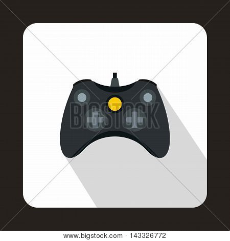 Joystick for playing games icon in flat style with long shadow. Play symbol
