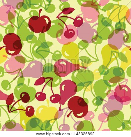 Vector seamless illustration with semitransparent fruit, seamless pattern, vector background