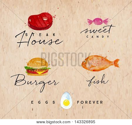 Set of watercolor labels lettering steak house sweet candy burger fish eggs forever drawing on kraft background