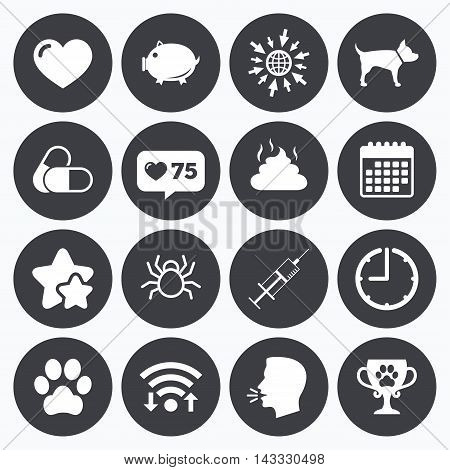 Calendar, wifi and clock symbols. Like counter, stars symbols. Veterinary, pets icons. Dog paw, syringe and winner cup signs. Pills, heart and feces symbols. Talking head, go to web symbols. Vector
