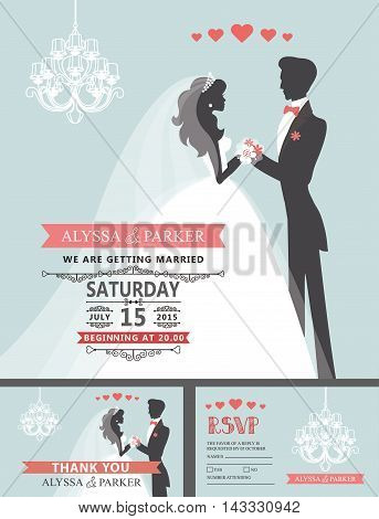 Wedding invitation cards set.Couple groom and bride in retro style with chandeliers, swirls borders, pink ribbon, hearts.Retro design template, cartoon flat silhouette.Vintage vector Illustration.