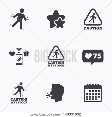 Caution wet floor icons. Human falling triangle symbol. Slippery surface sign. Flat talking head, calendar icons. Stars, like counter icons. Vector