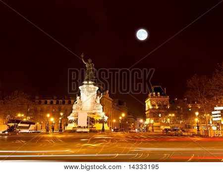 Marianne Statue On The Republic Square At Night
