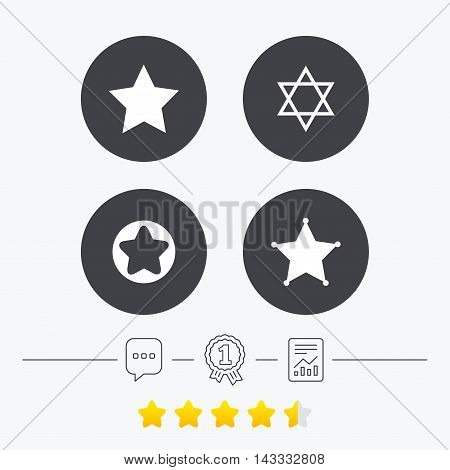 Star of David icons. Sheriff police sign. Symbol of Israel. Chat, award medal and report linear icons. Star vote ranking. Vector