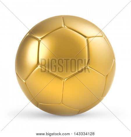 Golden soccer ball isolated on white background. 3D rendering.
