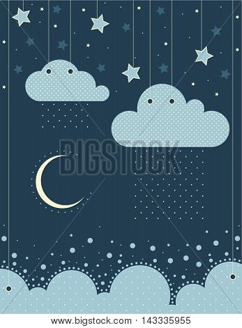 The illustration. Clouds , sea, moon, stars ,sky, rain. Can be used in the design of children's room or album art or greetings.