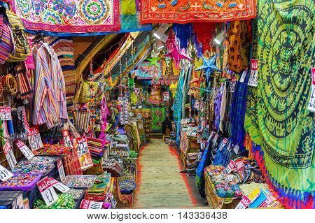 London UK - June 17 2016: carpet store at Camden Market. It is the fourth-most popular visitor attraction in London attracting approximately 100000 people each weekend