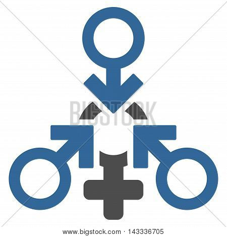 Triple Penetration Sex icon. Vector style is bicolor flat iconic symbol with rounded angles, cobalt and gray colors, white background.
