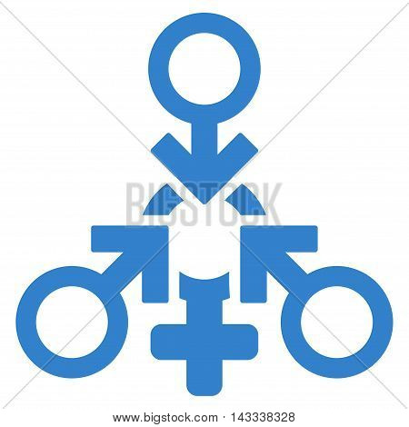 Triple Penetration Sex icon. Vector style is flat iconic symbol with rounded angles, cobalt color, white background.