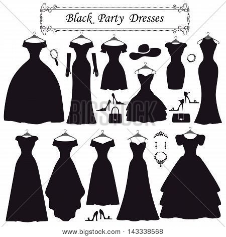 Fashion dress. Different styles of black party dress Silhouette set. Composition  made in modern flat vector style.Handbag, high heel shoes, jewelry decoration swirling frame.Isolated Vector Illustration