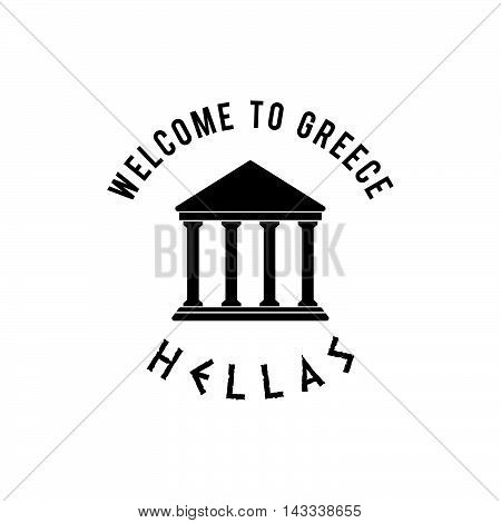 Welcome To Greece With Icon Hellas Illustration In Black