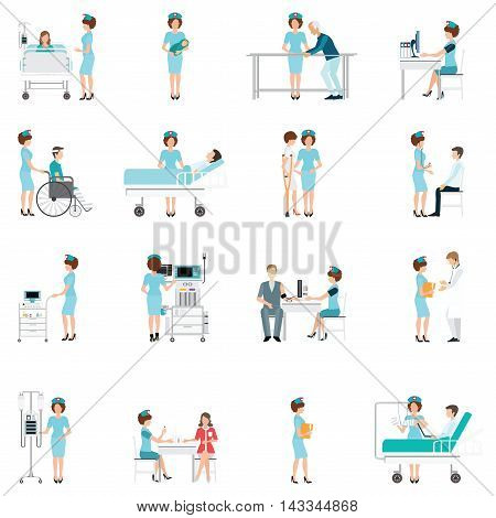 Nurse healthcare decorative icons set with patients needing in medical help character cartoon flat design vector illustration.