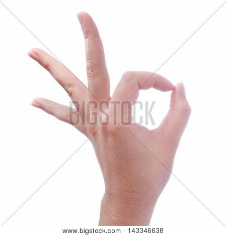 Hand Of Woman Making Gesture Ok Or Okay On White Background
