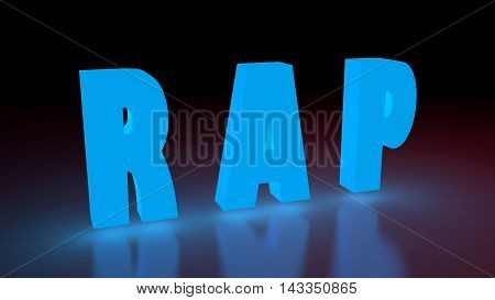 Rap music genre neon shine word on reflected surface. 3D rendering