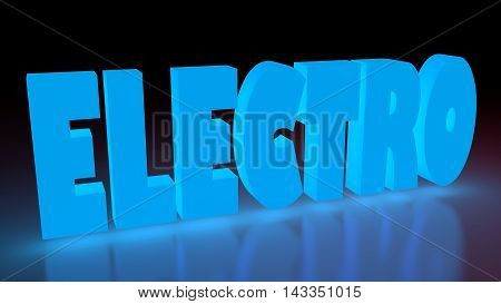 Electro music genre neon shine word on reflected surface. 3D rendering