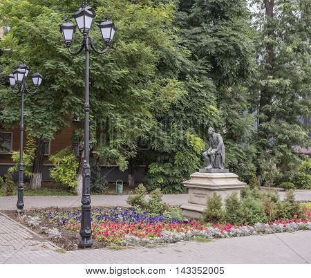 Rostov-on-Don Russia -August 14 2016: Monument to Mikhail Lomonosov. Sculptor Joseph Kozlowski