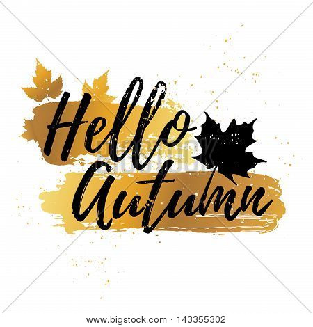 Banner Design Hello Autumn. Poster hello autumn decor with leaves of maple leaves. Silhouettes of leaves and spots golden texture. Vector illustration
