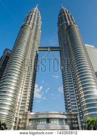 Kuala Lumpur, Malaysia - Feb 29: Petronas Twin Towers The Famous Landmark Of Malaysia