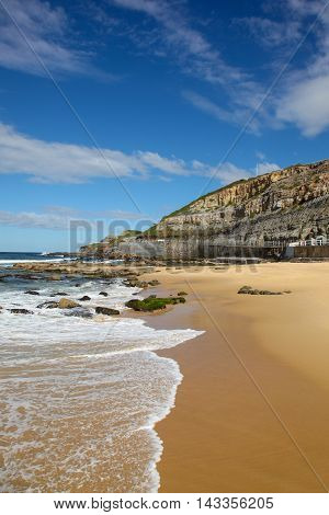 A nice day at Newcastle Beach looking south towards cliff face. This inner city beach is a drawcard in Australia's seconds oldest city a couple of hours drive north of Sydney.