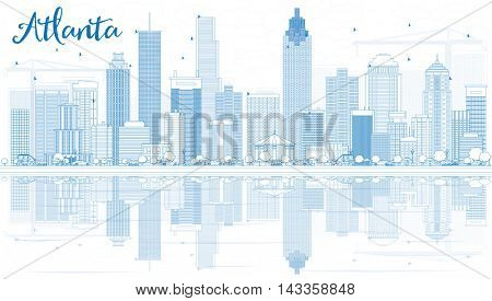 Outline Atlanta Skyline with Blue Buildings and Reflections. Business Travel and Tourism Concept with Modern Buildings. Image for Presentation Banner Placard and Web Site.