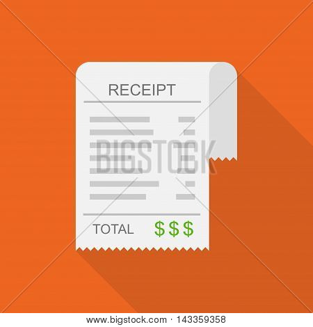 Receipt vector icon in a flat style. Invoice icon, total bill icon with dollar symbol on red background with shadow.