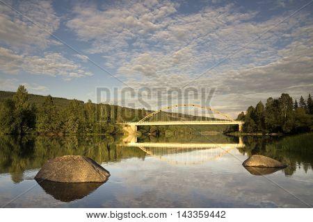 Bridge over the Klaralven river near Ransby in the Swedish province Varmland