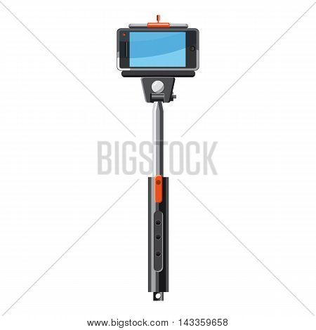 Selfie monopod stick icon in cartoon style on a white background